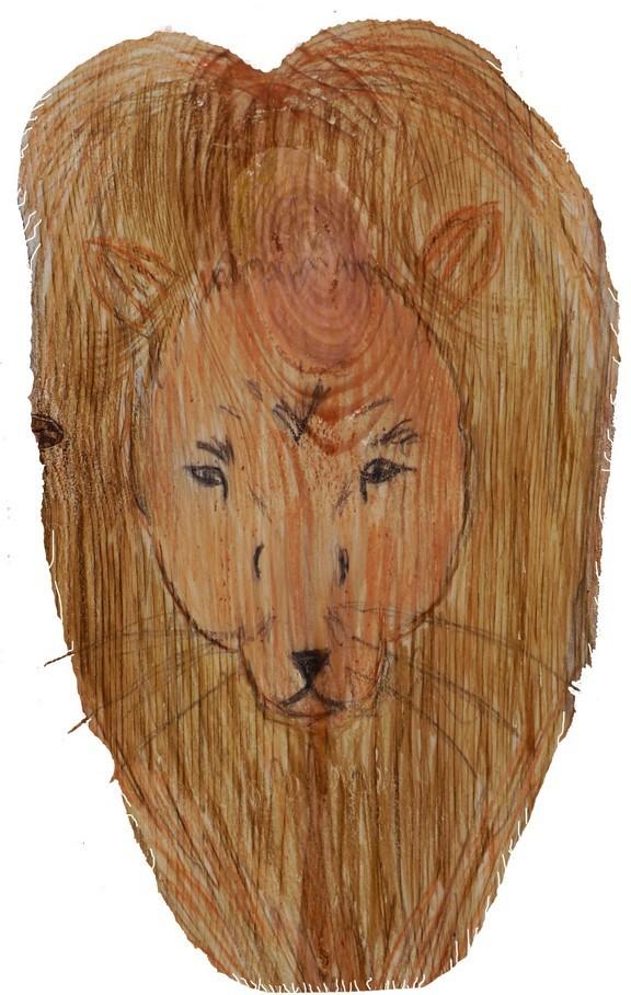 Der Löwe, Symbol des Evangelisten Markus, gezeichnet von einer Konfirmandin